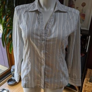 Old Navy Pinstriped Blouse - great details - XL